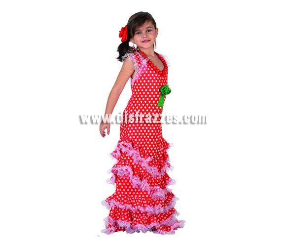 Disfraz de Sevillana Rojo con lunar blanco para niñas de 7 a 9 años. Incluye vestido y flor de la cabeza. Pendientes y Collar NO incluidos, podrás verlos en la sección de Complementos.
