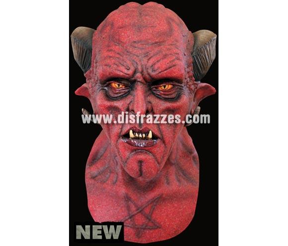 Máscara Zagam de látex. Alta calidad. Fabricada en látex artesanalmente por una empresa que hace efectos especiales para Hollywood. Máscara de cabeza entera. Máscara de Demonio o Diablo con cuernos de cabra.