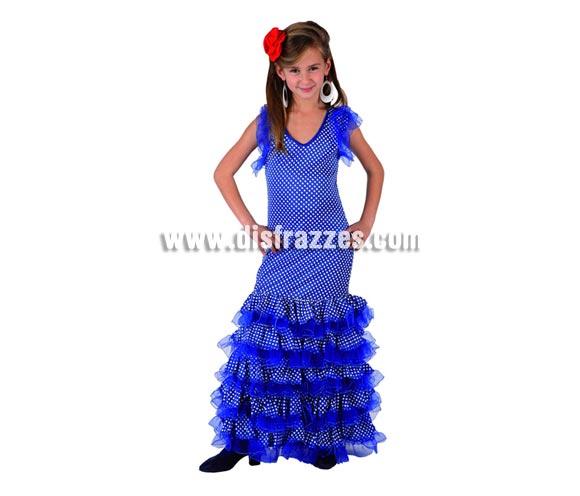 Disfraz de Sevillana Azul con lunar blanco para niñas de 3 a 4 años. Incluye vestido y flor de la cabeza. Pendientes NO incluidos, podrás verlos en la sección de Complementos.