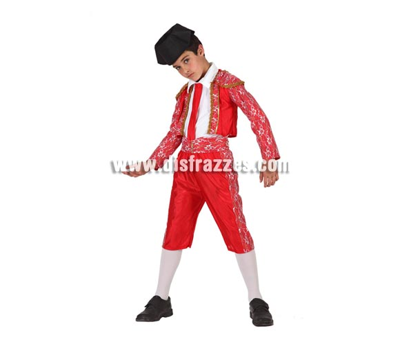 Disfraz super barato de Torero para niños de 10 a 12 años. Incluye pantalón, chaqueta, fajín, corbata y montera.