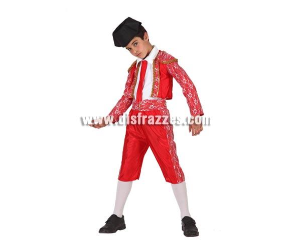 Disfraz super barato de Torero para niños de 7 a 9 años. Incluye pantalón, chaqueta, fajín, corbata y montera.