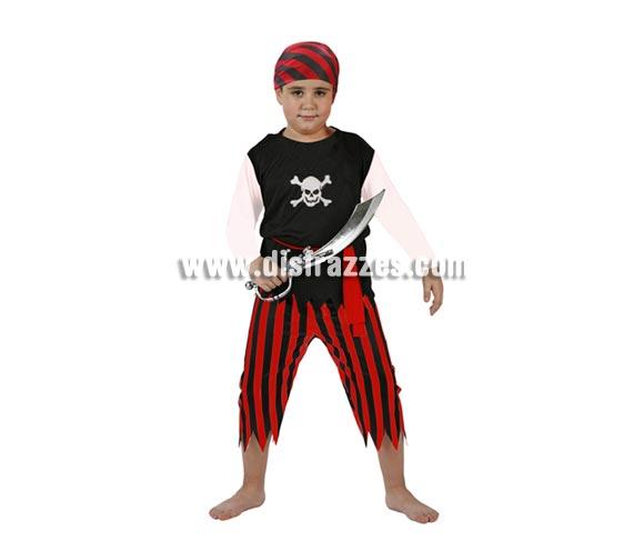 Disfraz muy barato de Pirata para niños de 7 a 9 años. Espada NO incluida, podrás verla en la sección Complementos.