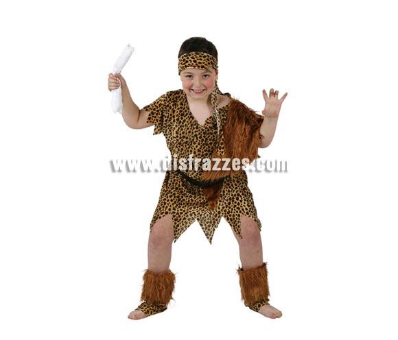 Disfraz de Cavernícola o Troglodita para niños de 5 a 6 años. Incluye espinilleras, vestido, cinturón y cinta de la cabeza.