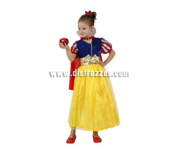 Disfraz de Blancanieves para niñas de 5 a 6 años. Incluye vestido, capa con cuello, lazo de la cabeza y cinturón