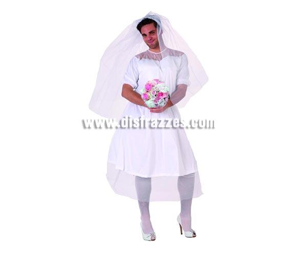 Disfraz de Novia para hombre. Talla 2 o talla standar M-L = 52/54. Incluye vestido y velo. Accesorios NO incluidos. Perfecto para Despedidas de Soltero.