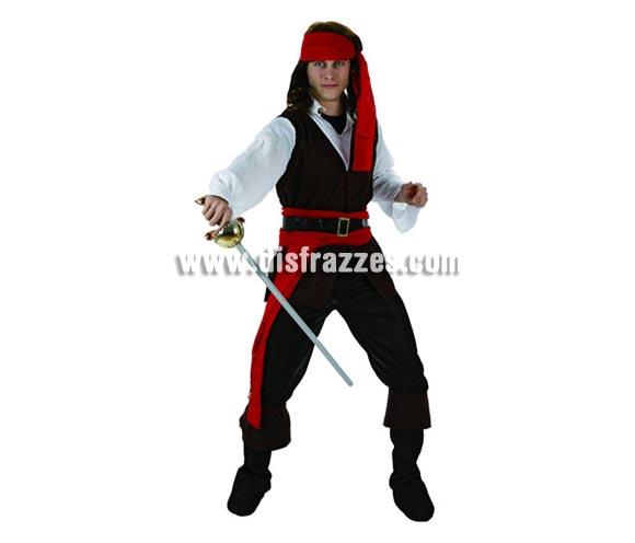 Disfraz barato de Pirata Caribeño para hombre. Talla 2 ó talla standar M-L 52/54. Incluye traje completo. Espada NO incluida, podrás encontrarla en nuestra sección de Complementos. Disfraz de Pirata del Caribe para chicos.