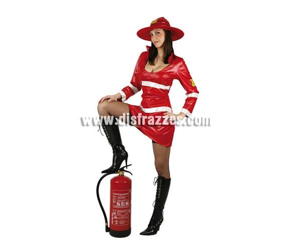 Disfraz de Bombera rojo para mujer. Talla 2 o talla standar M-L = 38/42. Incluye vestido y gorro.