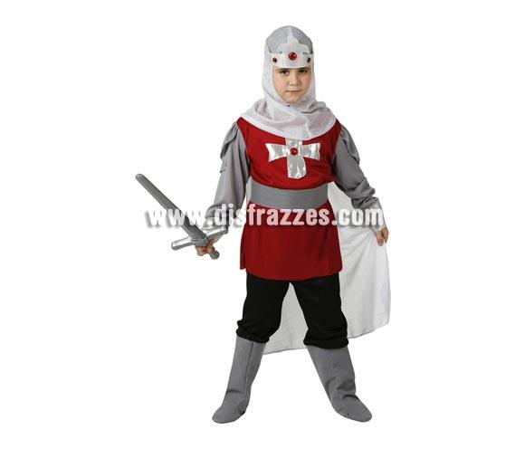Disfraz de Rey de las Cruzadas o Caballero Cristiano rojo para niños de 5 a 6 años. Espada NO incluida, podrás verla en la sección de Complementos.