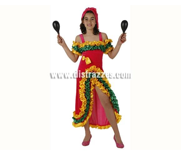 Disfraz de Brasileña Rosa para niñas de 10 a 12 años. Incluye vestido y pañuelo. Maracas NO incluidas, podrás encontrar maracas en la sección de Complementos.