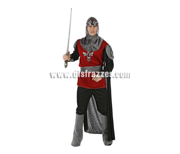 Disfraz de Soldado Medieval para hombre. Talla 2 ó talla standar M-L. Incluye capucha, túnica, pantalón, cubrebotas y cinturón. Espada NO incluida, podrás ver espadas en la sección Complementos.