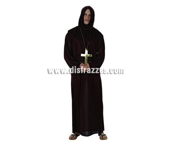 Disfraz o Túnica de Monje  para hombre. Talla 2 ó talla standar M-L = 52/54. Incluye túnica con capucha y collar.