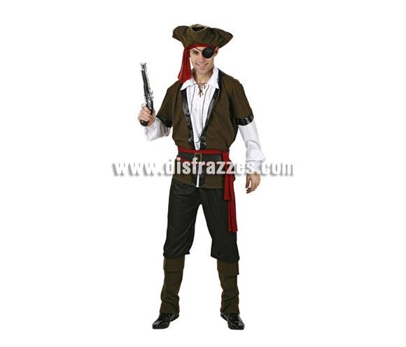 Disfraz de Pirata de lujo para hombre. Talla 2, M-L = 52/54. Incluye disfraz completo. Pistola NO incluida, podrás verla en la seccón de Complementos.