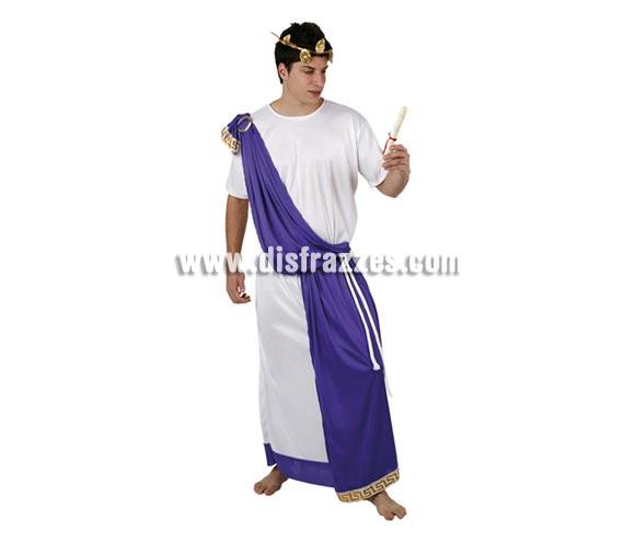 Disfraz de Romano con túnica para hombre. Talla 2, M-L = 52/54. Incluye túnica, cinturón y corona. La pareja de éste disfraz es la ref. 94225AT.