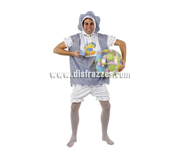 Disfraz de Bebé travieso para hombre. Talla 2 ó talla M-L = 52/54. Incluye gorro, camisa y pantalón. La pareja de éste disfraz es la ref. 94220AT.