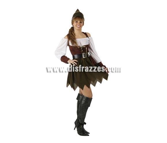 Disfraz de Arquera para mujer. Talla 2 ó talla standar M-L = 38/42. Incluye vestido, cinturon y gorro. Disfraz de Robin Hood para mujer.