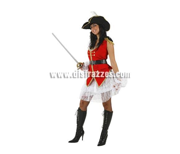 Disfraz barato de Capitana Pirata sexy para mujer. Talla 2 ó talla standar M-L = 38/42. Incluye chaleco, falda y sombrero. Botas y espada NO incluidos, podrás encontrarlos en nuestra sección de Complementos.