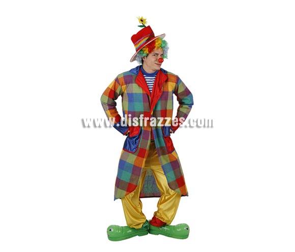 Disfraz de Payaso Divertido para hombre. Talla 2 ó talla standar M-L = 52/54. Incluye gorro, camisa, pantalón y chaqueta.