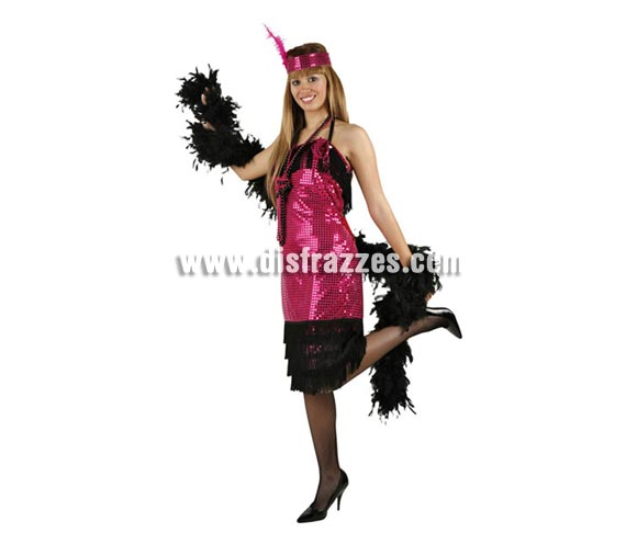 Disfraz barato de Charlestón fucsia para mujer. Talla 2 ó talla Standar M-L = 38/42. Incluye vestido y tocado.