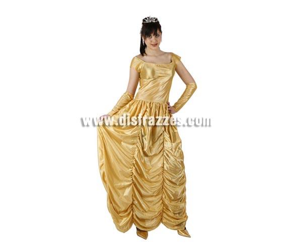 Disfraz barato de Princesa Bella para mujer. Talla 2 ó talla standar M-L = 38/42. Incluye vestido y manguitos. Corona NO incluida, podrás encontrarlo en nuestra sección de Complementos.