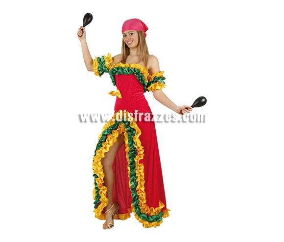 Disfraz de Brasileña Rosa para mujer. Talla 3 ó talla XL = 44/48. Incluye vestido, pañuelo y mangas. Maracas NO incluidas, podrás ver algunas en la sección de Complementos.