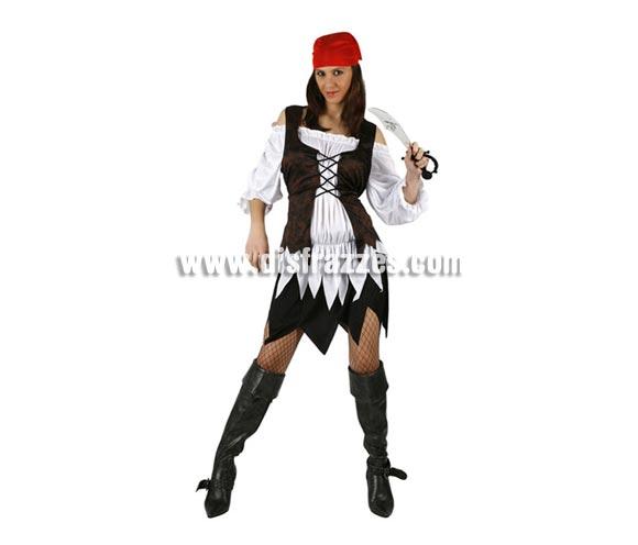 Disfraz barato de mujer Pirata sexy. Talla standar M-L = 38/42. Incluye falda, camisa, chaleco y pañuelo.