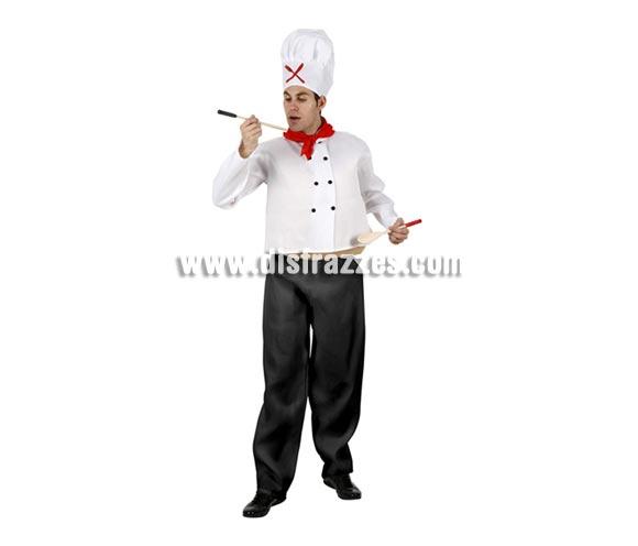 Disfraz de Cocinero gordo para hombre. Talla 2 ó talla standar M-L = 52/54. Incluye gorro, pañuelo, chaqueta, barriga y pantalón.