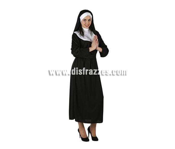 Disfraz barato de Monja para mujer. Talla 2 ó talla standar M-L = 38/42. Incluye vestido y tocado.
