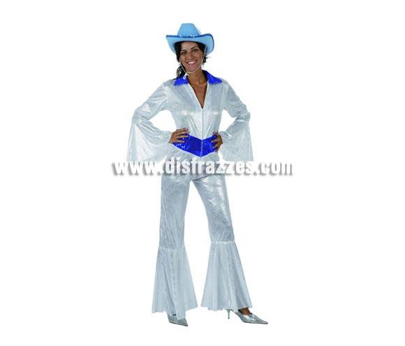 Disfraz de Disco Woman blanco brillo para mujer. Talla 2 o talla standar M-L = 38/42. Incluye mono. Sombrero NO incluido, podrás encontrar en nuestra sección de Complementos. La pareja de éste disfraz es la ref. 96142AT.