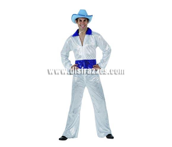 Disfraz de Disco Man blanco brillo para hombre. Talla 2 ó talla standar M-L = 52/54. Incluye vestido. sombrero NO incluido, podrás encontrar en nuestra sección de Complementos. La pareja de éste disfraz es la ref. 96135AT