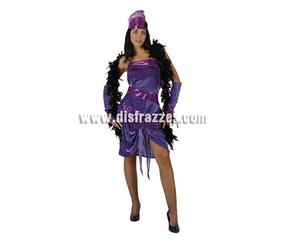 Disfraz barato de Charlestón lila para mujer. Talla 2 ó talla standar M-L = 38/42. Incluye vestido, tocado y manguitos de los brazos. Boa NO incluida, podrás verla en varios colores en la sección de Complementos.