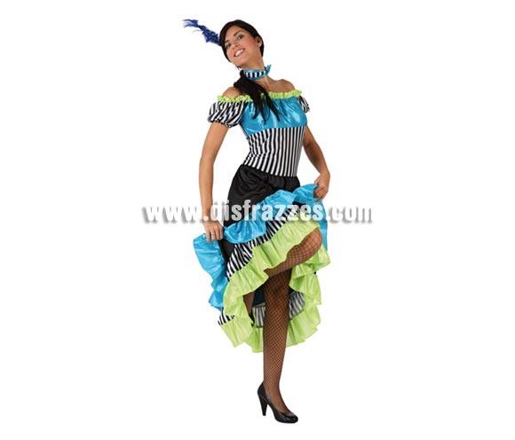 Disfraz barato de Cabaretera para mujer. Talla 2 ó talla universal M-L = 38/42. Incluye vestido, tocado y acc cuello.