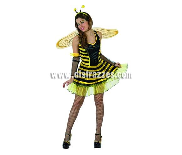 Disfraz barato de Abejita, Abeja o Avispa Sexy para mujer. Talla 2 ó talla standar M-L = 38/42. Incluye vestido, alas, tocado y mangas.