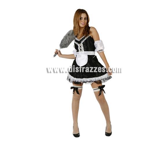 Disfraz barato de Limpiadora o Sirvienta sexy para mujer. Talla 2 ó talla standar M-L = 38/42. Incluye vestido, ligas y brazaletes o manguitos de los brazos.
