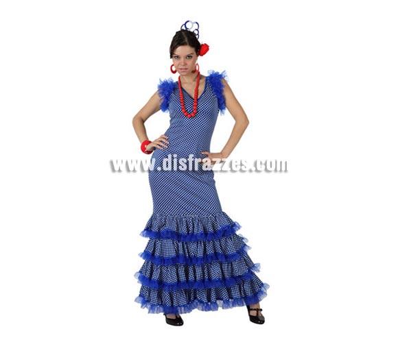 Disfraz de Flamenca azul con lunar blanco para mujer. Talla 3 ó talla XL 44/48. Incluye disfraz. Perfecto para la Feria de Abril, la Feria de Málaga, etc.etc.