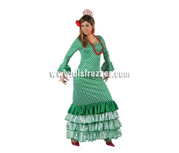 Disfraz de Faralae verde con lunar blanco para mujer. Talla 3 ó talla XL 44/48. Incluye vestido. Complementos NO incluidos. Disfraz de Sevillana, Flamenca o Gitana de mujer perfecto para la Feria de Abril.