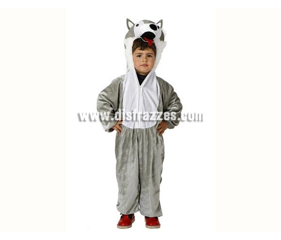 Disfraz de Lobo gris para niños de 5 a 6 años. Incluye mono con capucha.
