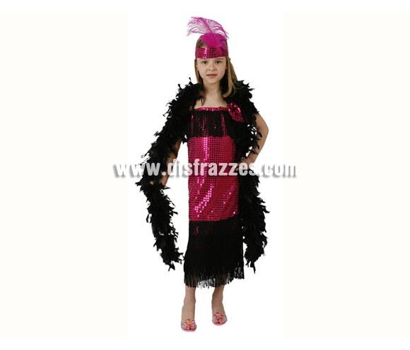 Disfraz de Charlestón fucsia para niñas de 5 a 6 años. Incluye vestido y cinta de la cabeza. Boa NO incluida, podrás verla en la sección de Complementos.