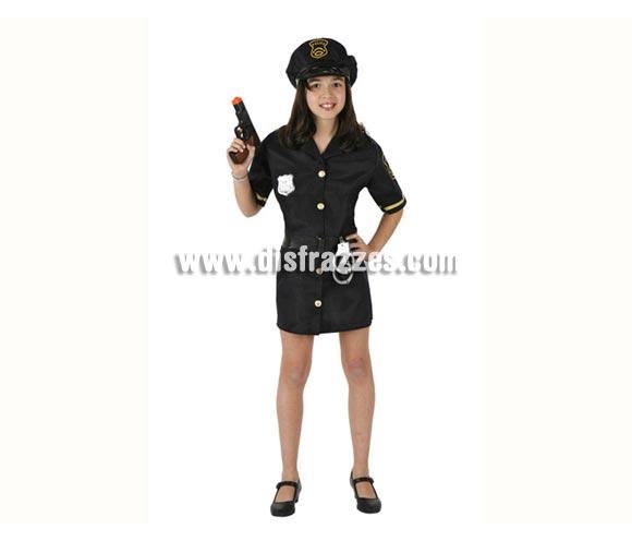 Disfraz de Policía para niñas de 3 a 4 años. Incluye vestido, cinturón y gorra. Pistolas y Esposas NO incluidas, podrás verlas en la sección de Complementos.