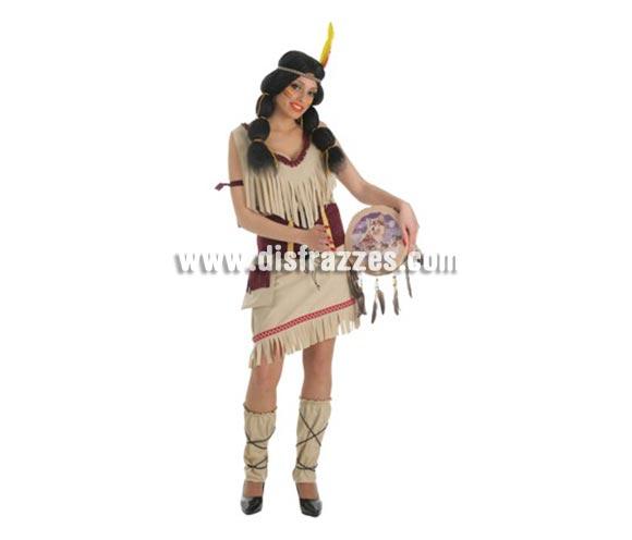 Disfraz de India Sioux para mujer. Talla Universal. Incluye vestido, bolso,corse, polainas y accesori indio (sin peluca)