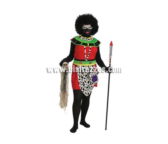 Disfraz de Africana para mujer. Talla Universal. Contiene: Vestido, cinturon, bolso, cuello, peluca, medias, y calavera. (Sin sueter, guantes ni lanza)