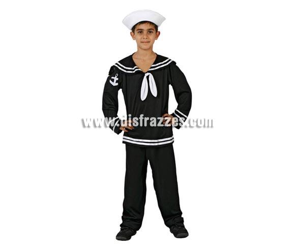 Disfraz de Marinero para niños de 3 a 4 años. Incluye pantalón, camisa y gorro.