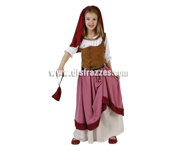 Disfraz Moza Criada o Mesonera para niñas de 10 a 12 años. Incluye tocado, falda, camisa, chaleco y cinturón.