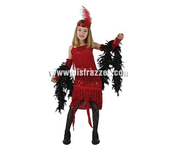 Disfraz de Charlestón rojo para niñas de 7 a 9 años. Incluye vestido, guantes y cinta de la cabeza. El lazo que cuelga NO lo incluye.