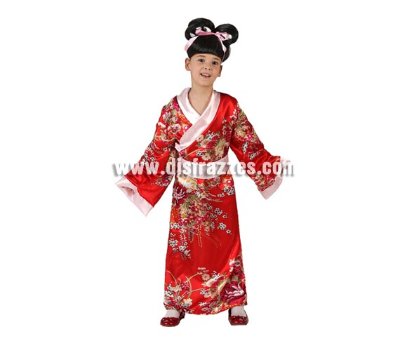 Disfraz de Kimono Largo Japonesa para niñas de 7 a 9 años. Incluye Kimono.