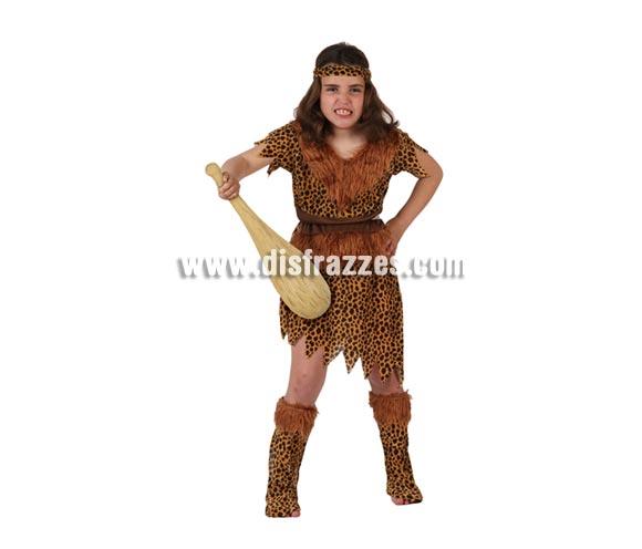 Disfraz de Troglodita o Cavernícola para niñas de 7 a 9 años. Bastón NO incluido, podrás verlo en la sección de Complementos.