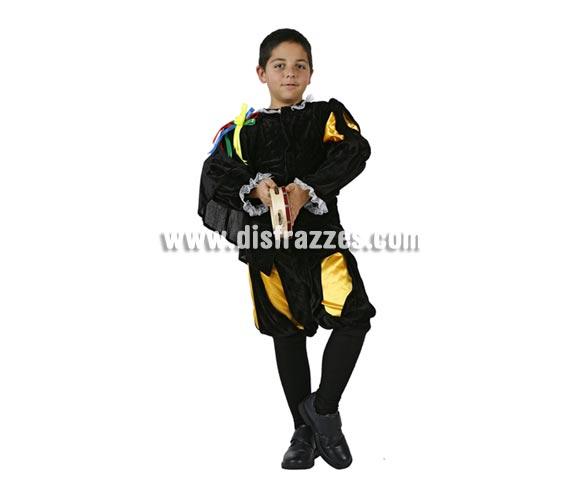 Disfraz de Tuno para niños de 5 a 6 años. Incluye pantalón corto y camisa con capa. Pandereta NO incluida, podrás verla en la sección de Complementos.