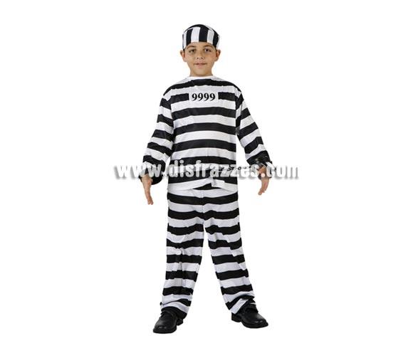 Disfraz de Presidiario, Preso o Prisionero para niños de 7 a 9 años. Esposas NO incluidas, podrás verlas en la sección de Complementos.
