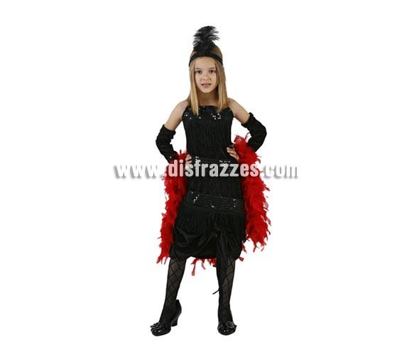 Disfraz de Charlestón negro para niñas de 10 a 12 años. Incluye vestido, guantes y cinta de la cabeza.