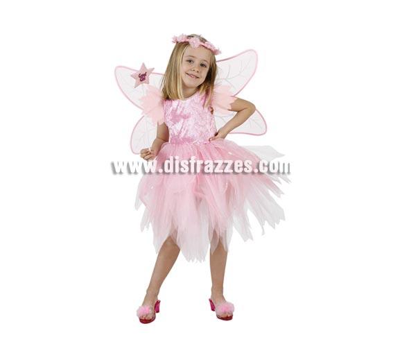 Disfraz de Hada rosa para niñas de 5 a 6 años. Incluye vestido, alas y cinta de la cabeza. Zapatos y varita NO incluidos, podrás verlos en la sección de Complementos.