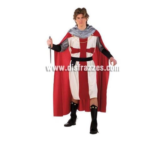 Disfraz de Templario Medieval deluxe adulto. Disponible ne varias tallas. Incluye túnica, capa, cinturón, cubrebotas y capucha. Puñal NO incluido. Disfraz de Guerrero Medieval para hombre.